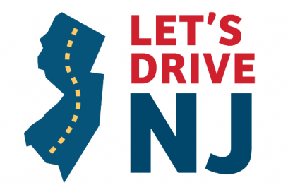 Let's drive NJ logo- outline of state of New Jersey with dotted highway lines down center