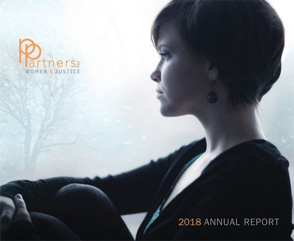 """woman looks into distance, labeled """"2018 annual report"""""""