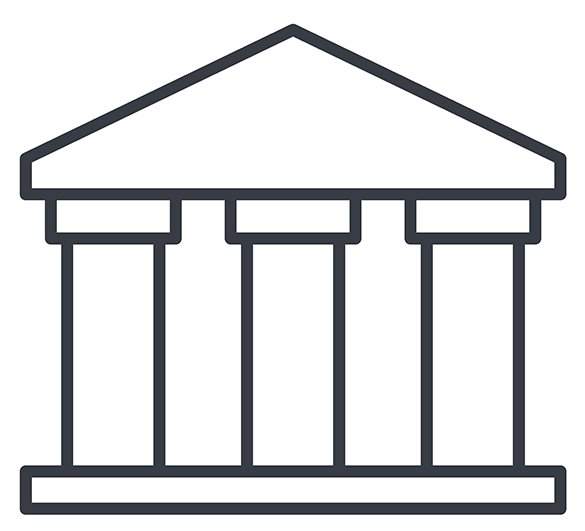 columned building line drawing