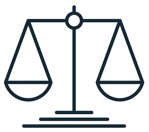 scales of justice line drawing