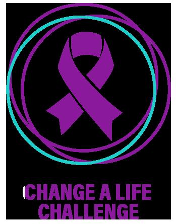 "Purple ribbon labeled ""Change a life challenge"""