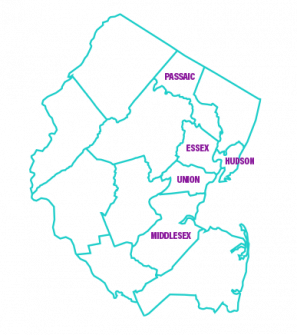 New Jersey county line map